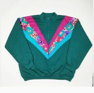 80s 90s Vintage Colorblock 1/4 Zip Sweater EUC